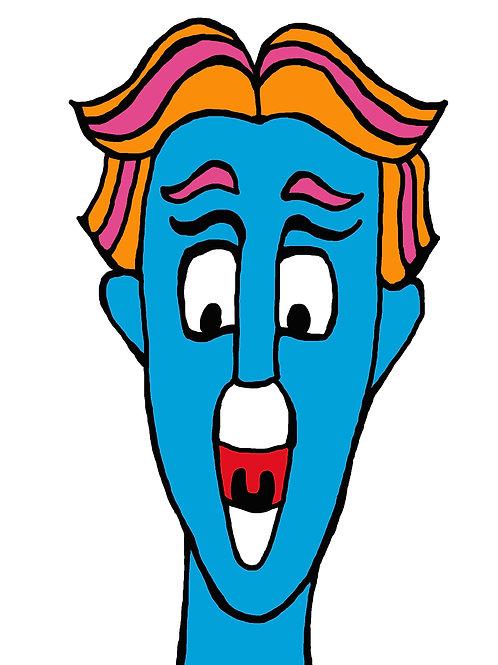 Blue Man Sticker