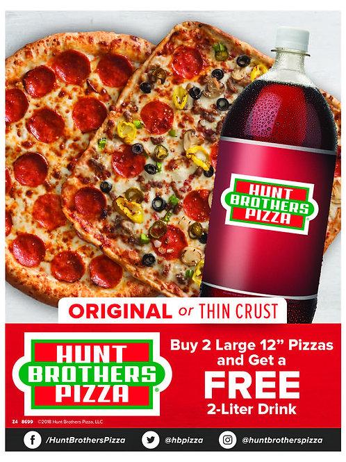 1004 | 2 Pizzas + Free 2 Liter
