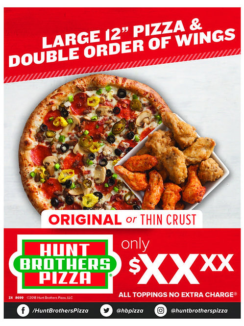 1002   Whole Pizza + Double Order Wings