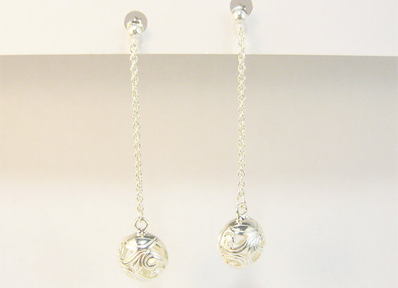 Earrings-intricate ball