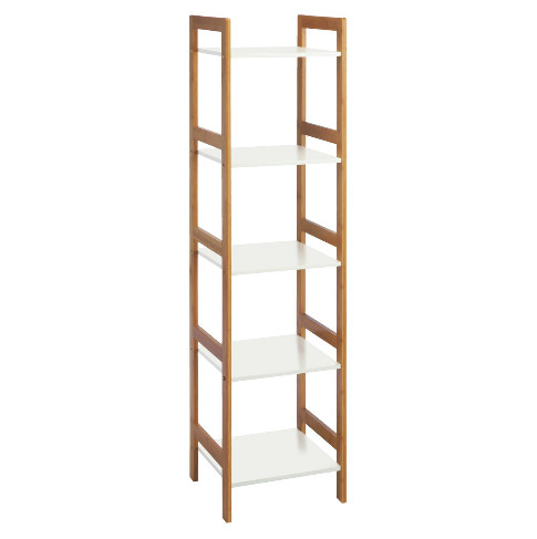 grade b repackaged shipping free the drew bamboo and white lacquer 5shelf bookcase uses the warm naturally sustainable bamboo material in a minimalist