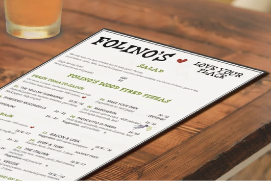 Kayla Hedman: Folino's Pizza Menu Design