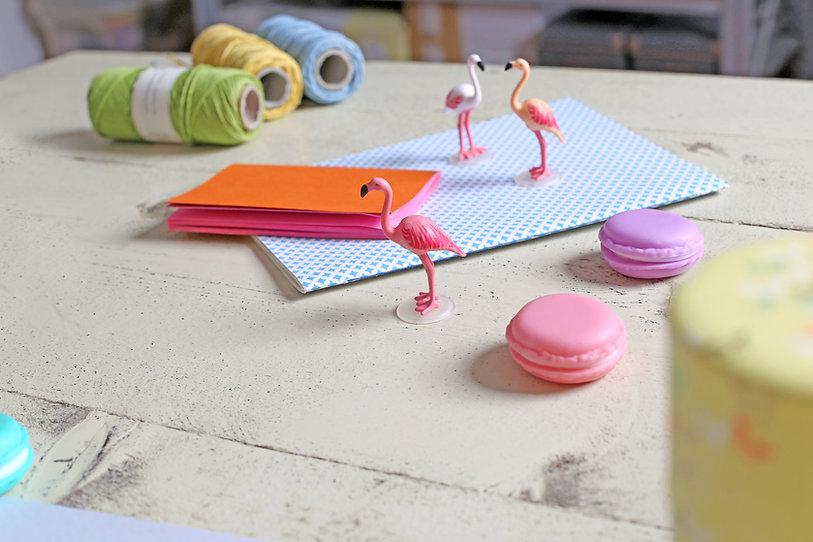 Flamingo's en makarons