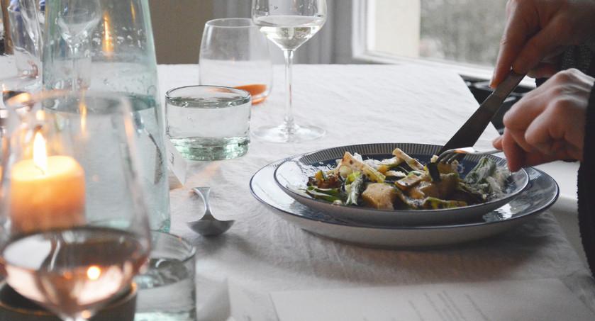 Gnudi and vegetables
