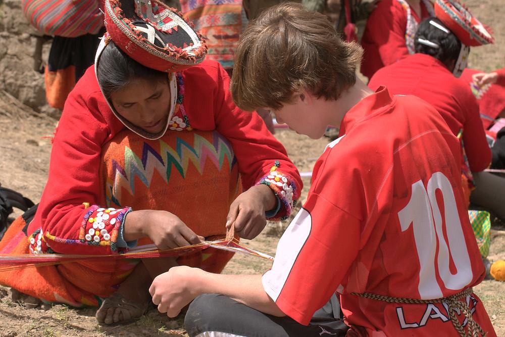 working in Peru with women artisand