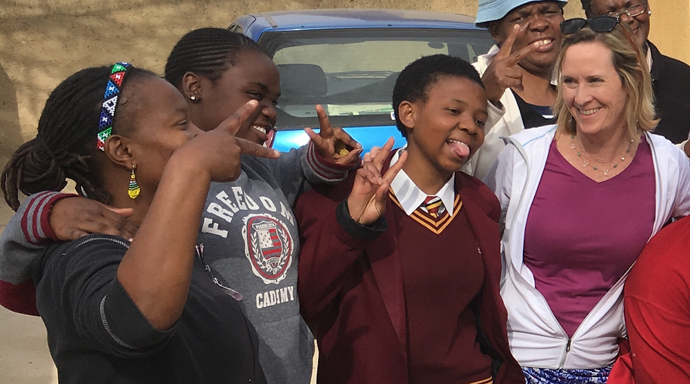 Jennifer making friends in Soweto!
