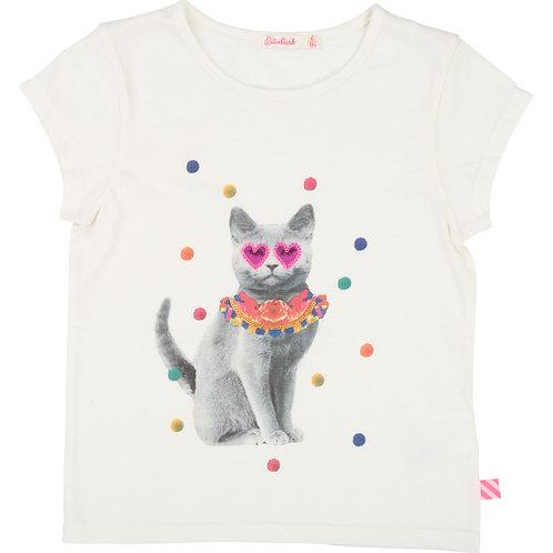 BILLIEBLUSH GIRLS IVORY CAT TEE
