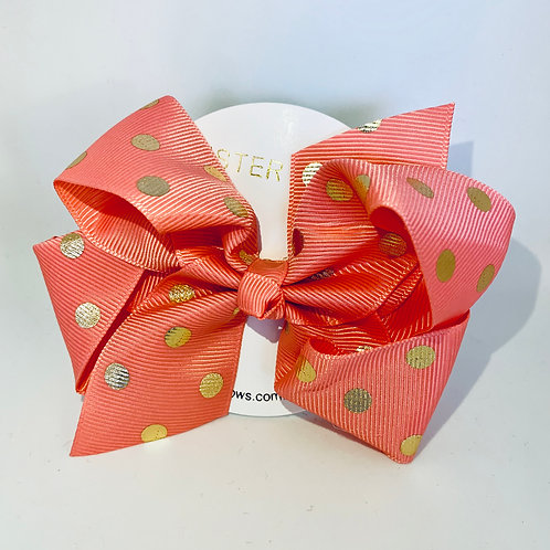 SISTER BOWS POLKA DOT PEACH