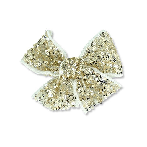 SEQUINS RIBBON HAIR CLIP GOLD