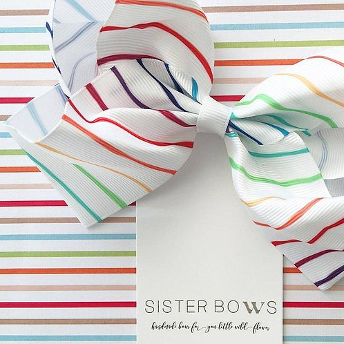 SISTER BOWS RAINBOW STRIPE