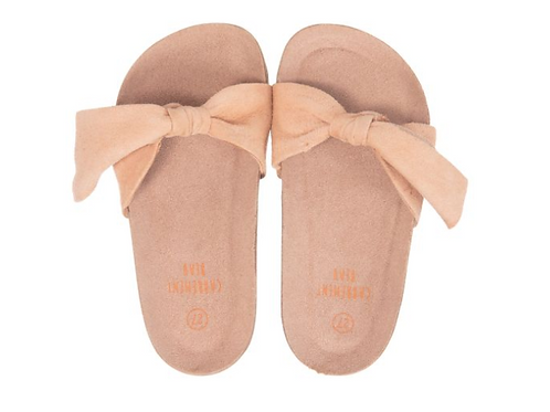 CARREMENT BEAU GIRLS PINK SUEDE SLIDERS