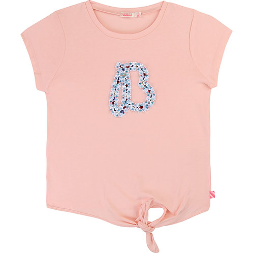 BILLIEBLUSH PINK EMBROIDERED TEE WITH TIE WAIST