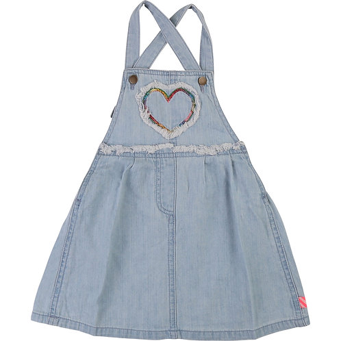 BILLIEBLUSH BLUE CHAMBRAY PINAFORE DRESS