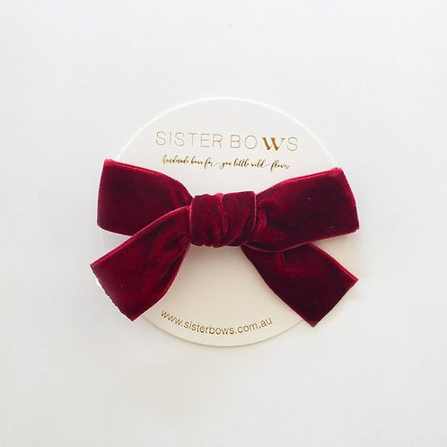 SISTER BOWS DEEP RED VELVET BOW