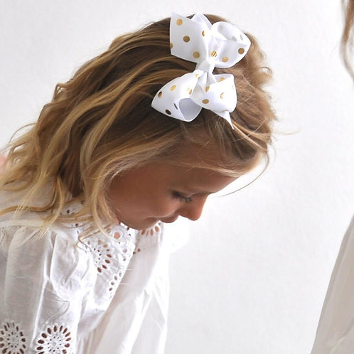 SISTERBOWS WHITE BOW WITH GOLD SPOTS