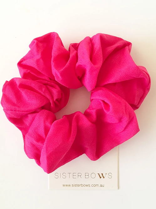SISTER BOWS HOT PINK SCRUNCHIE