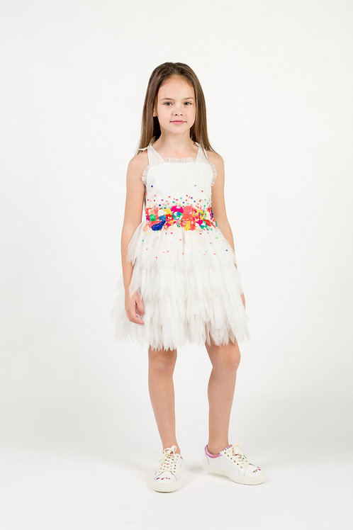 BILLIEBLUSH WHITE SEQUIN AND TULLE DRESS
