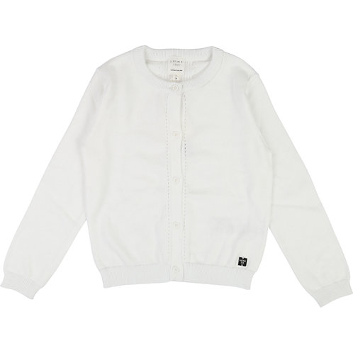 CARREMENT BEAU WHITE KNITTED COTTON CARDIGAN