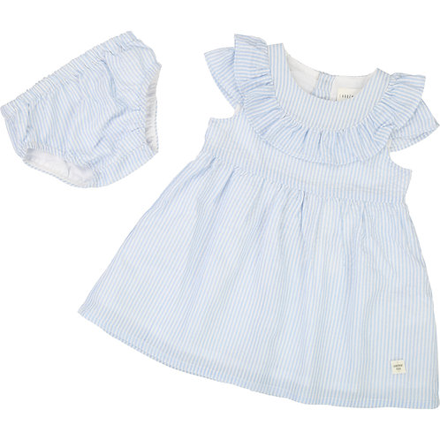 CARREMENT BEAU BLUE AND WHITE STRIPPED DRESS WITH BLOOMERS