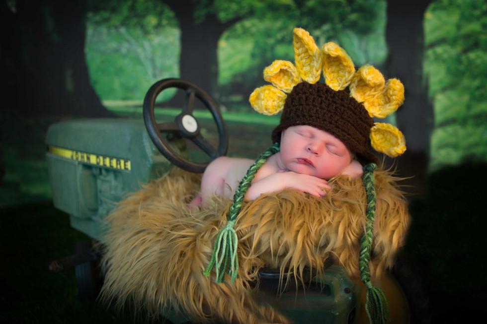 Sunflower and Tractor newborn