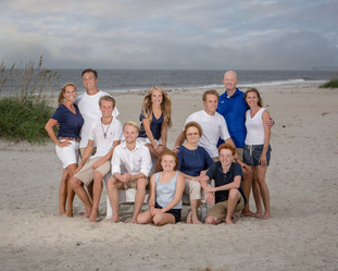 Family Beach before storm