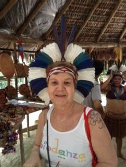 Clarice with headdress Pataxo