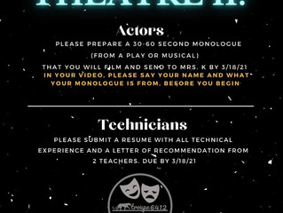 Advanced Theatre II Auditions!