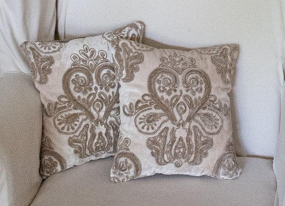 Natural cut-velvet pillow
