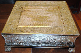 """18"""" silver square wedding cake stand"""