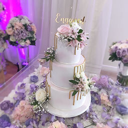 3 Tier Drip Engagement Cake