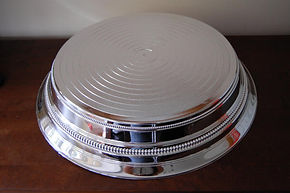 "14"" silver round wedding cake stand hire"