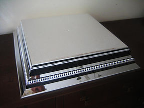 """14"""" silver square wedding cake stand hire"""