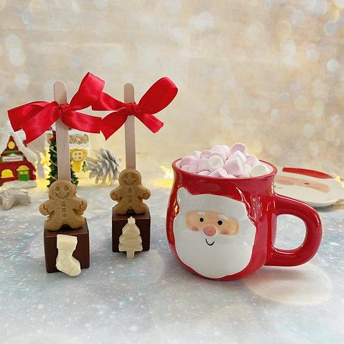Hot Chocolate Stirrers with Santa Mug and mini marshmallows