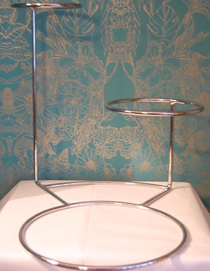 silver 3 tier offset wedding cake stand for hire