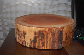 Wooden tree slice wedding cake stand hire