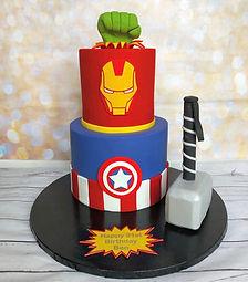 Marvel Super Hero Iron Man Captain America Hulk Birthday Cake