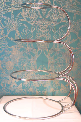 4 tier silver E shape wedding cake stand for hire