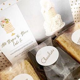 Wedding cake sample box tasting