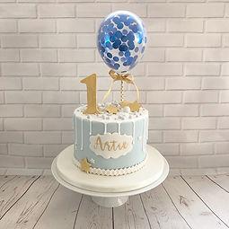 1st birthday Confetti Balloon Drip Cake