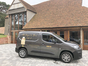 wedding cake delivery to The Oak Barn Frame Farm