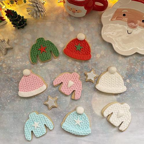 Christmas Jumper & Bobble Hat Cookies