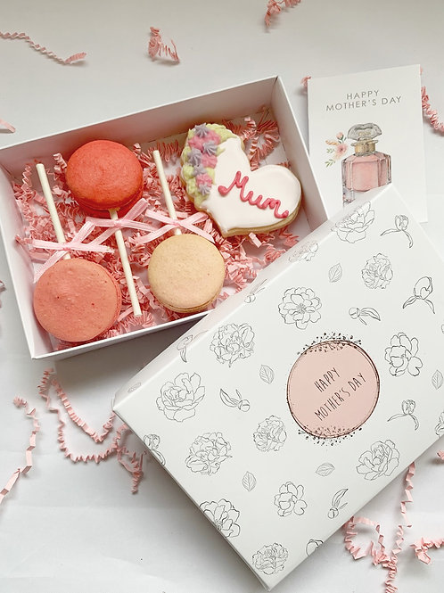 Mothers Day Iced Cookie & 3 Macaron Pops