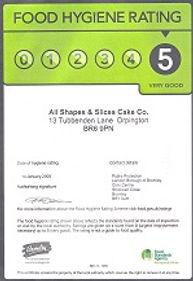 level 5 food hygiene rating certificate