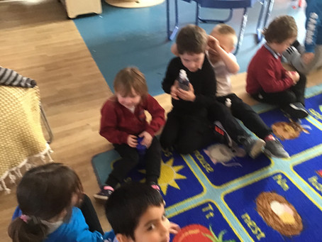 Afternoon snack chat in Reception.