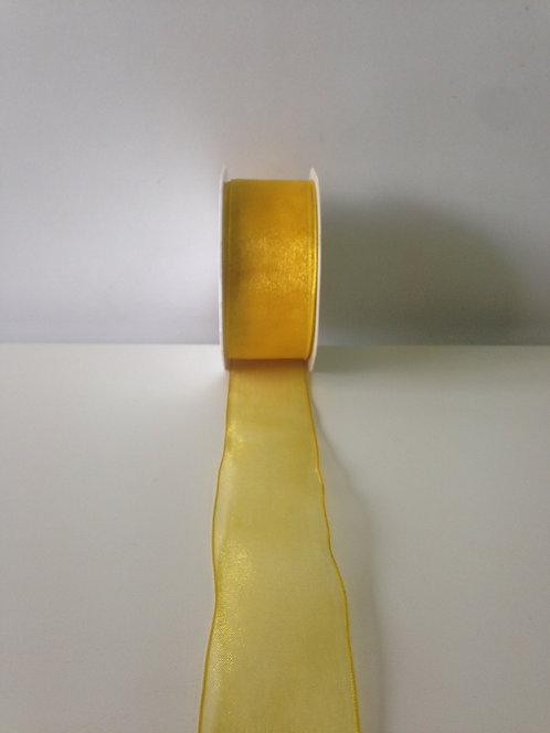 Traka organdi sa žicom - žuta