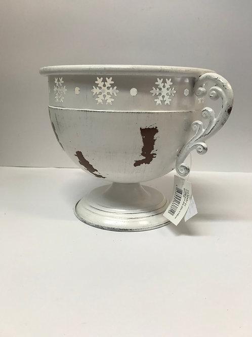 Bijela metalna posuda sa pahuljicama 20x18 cm