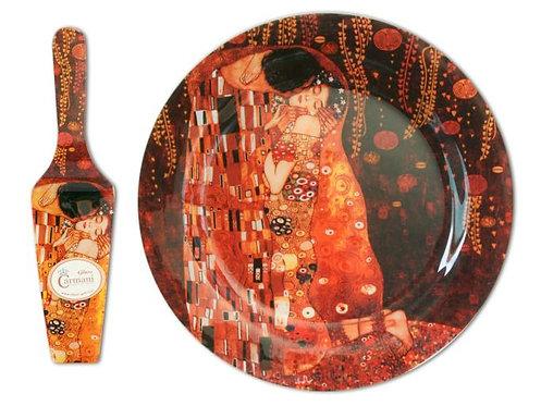 198-1701 Stakleni tanjur i lopatica