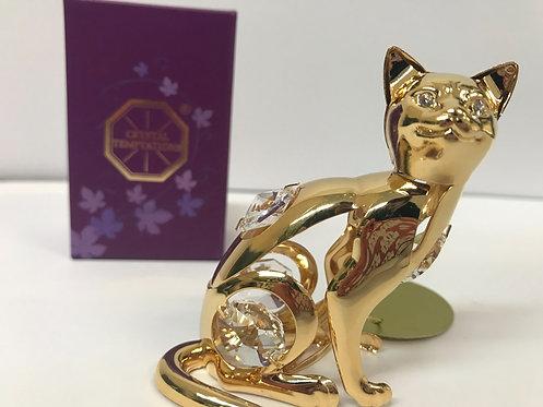 Figura Mačka Swarovski kristali 24 k pozlata