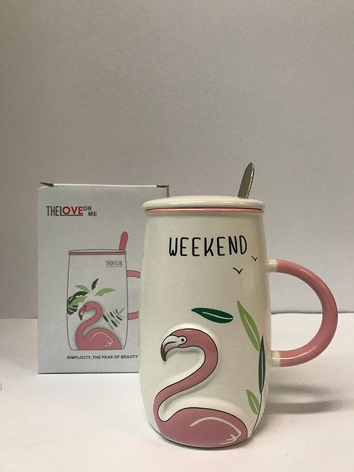 Šalica sa poklopcem Flamingo