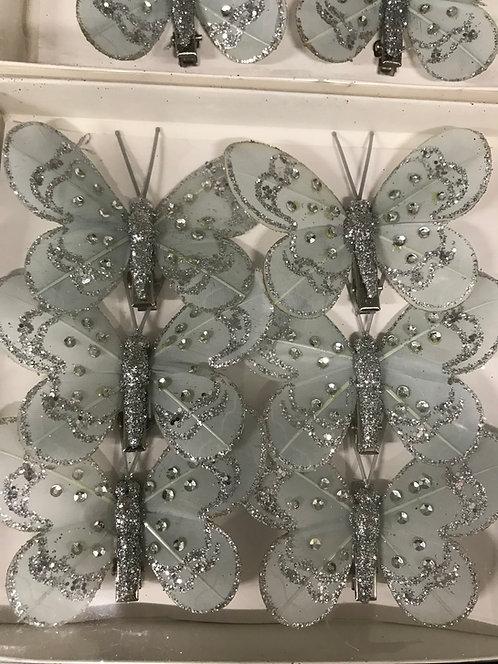 Leptiri sa štipaljkom - srebrni